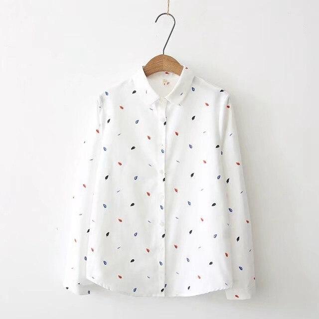 Print Shirts Women Tops 2020 Autumn Clothes Plus Size Loose Pink Blusa Feminina  Long Sleeve Women Blouse Cotton Blouses SL87 2
