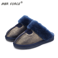 MBR FORCE Fashion Warm Women Shoes Natural Fur  Slippers Home Shoes Winter Suede Slippers Woman Indoor Shoes Wool Slippers