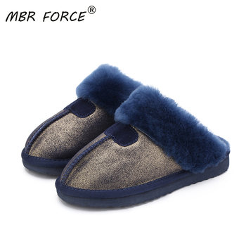 MBR FORCE Fashion Warm Women Shoes Natural Fur  Slippers Home Shoes Winter Suede Slippers Woman Indoor Shoes Wool Slippers millffy wool slippers home package with comfortable men and women couple fur large size shoes mother pregnant women shoes