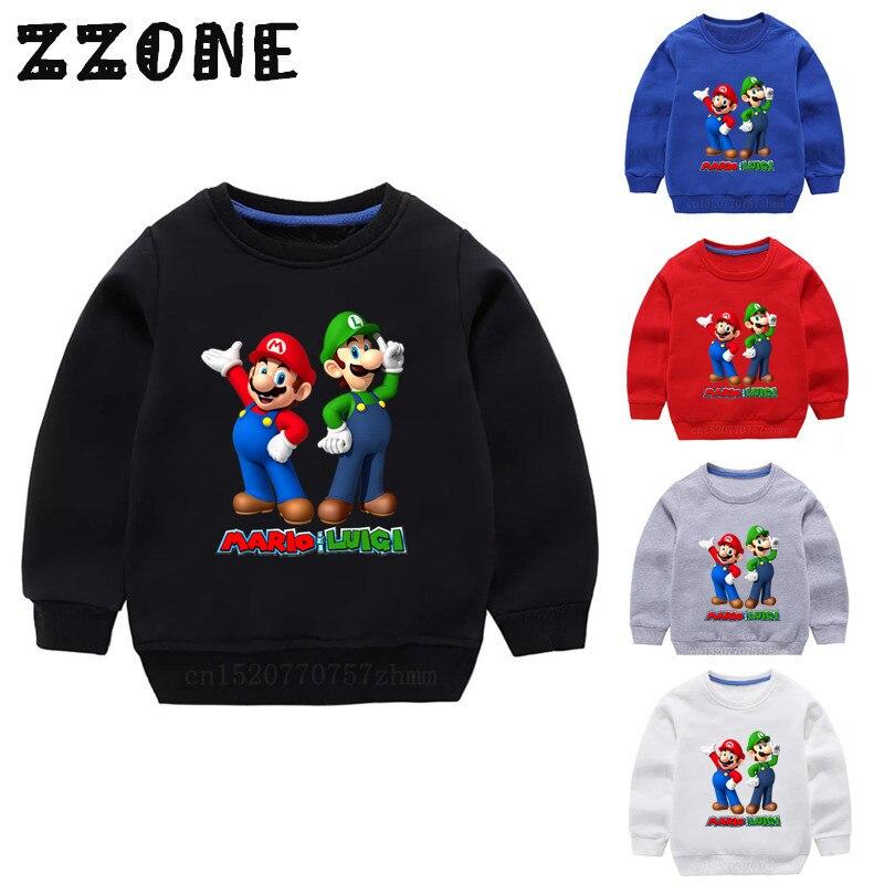 Детские толстовки с капюшоном детские толстовки с героями мультфильмов «Супер Марио» и «Луиджи» хлопковый пуловер для малышей топы для девочек и мальчиков, осенняя одежда KYT5175