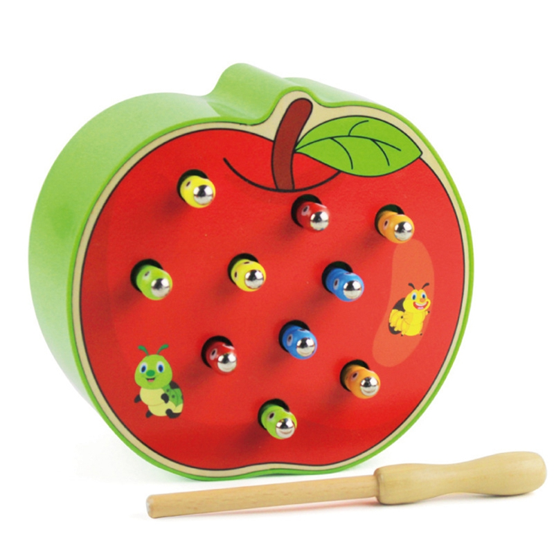 3D Cognitive Education Puzzle Toys Color Wood Toys Magnetic Caterpillar Animal Early Childhood Education Catch Worm Game image