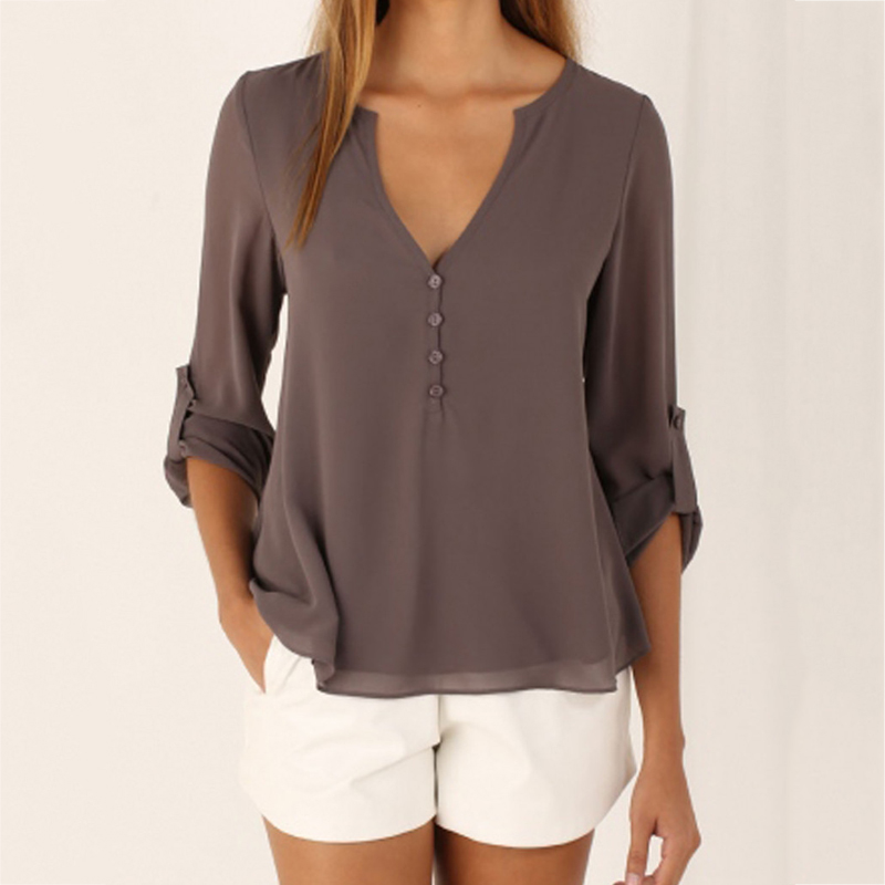 Autumn Fashion Casual Long-sleeved V-neck Loose Solid Color Large Size Chiffon Shirt Shirt Women