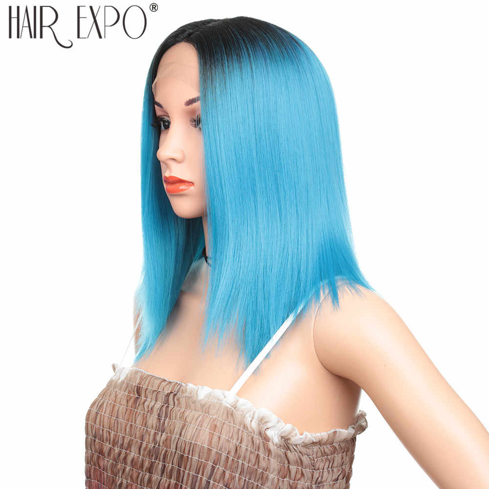 14 дюймов короткие прямые волосы синтетический Синтетические волосы на кружеве парики химическое бесклеевой синий Косплэй или вечерние Боб кружевной парик для черных/белый Для женщин