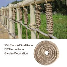 50ft Twisted Sisal Rope DIY Home Garden Decoration 6MM For Pet Cat Anti-grab Toys, Climbing Frames