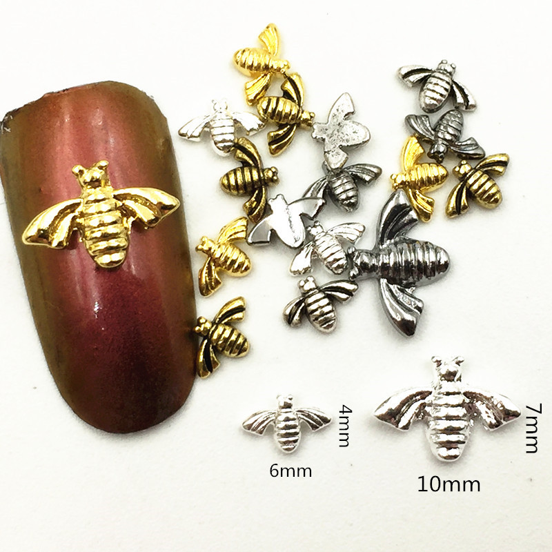New Style Japanese Style Nail Jewelry Retro Metal Mini Cute Little Bee Punk Style Men's Nail Ornament Nail Sticker