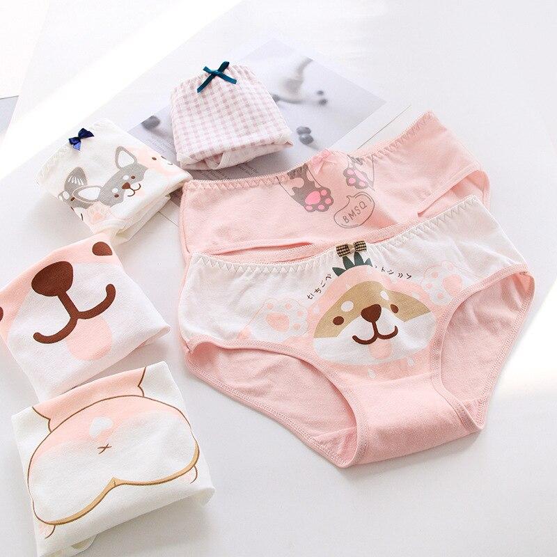 2019 New Teenage Underpants Dog Printed Young Girl Briefs  Cartoon Panties Girl Cotton Panties Kids Underwear