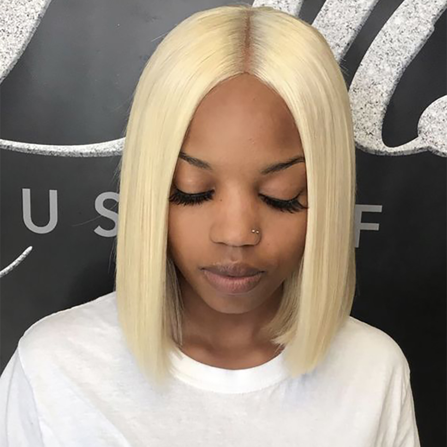 613 honey blonde lace front wig brazilian straight frontal short bob human hair wigs hd lace for black women colored 13x4 130 image