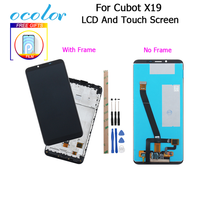 ocolor For Cubot X19 LCD Display + Touch Screen Digitizer With Frame +Film Replacement With Tools +Adhesive For Cubot X19 Phone