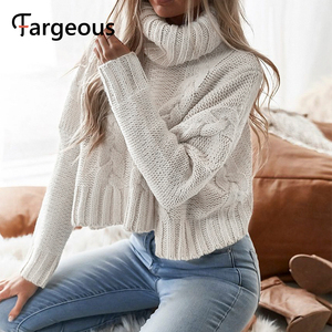 Image 2 - Long Sleeve Turtleneck Crop Sweater 2019 Autumn Winter Thick Solid Harajuku Oversized Pullover White Kintted Jumper Tops