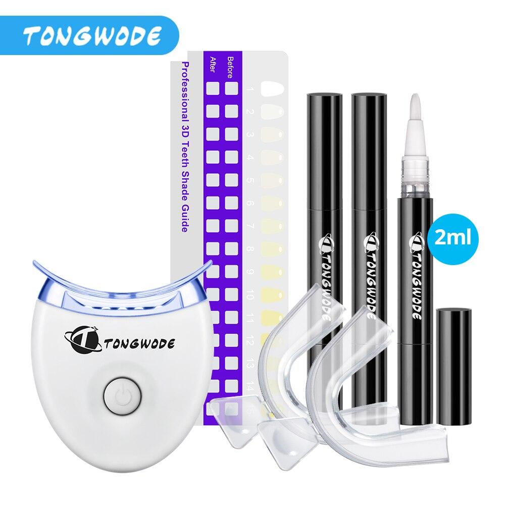 tongwode higiene oral dentes branqueamento kit 1 dentes clareamento luz azul 3 canetas de clareador de