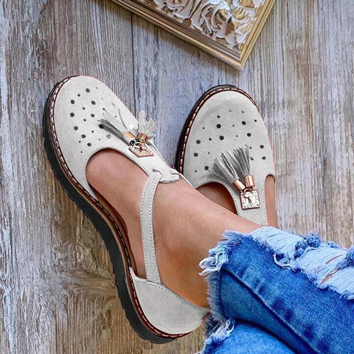 2020 Tassel Round Toe Sandals Shoes Casual Flat Chunky Heel Shoes Women T-Bar Sandals Wedges Shoes High Heel Leisure Sandals