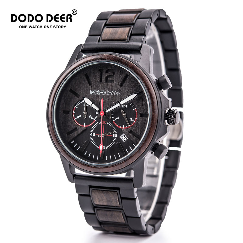 DODO DEER Men Wood Watch Chronograph Calendar Stop Watch Wooden Luxury Stainless Steel Wristwatches Erkek Kuvars Saatler C04