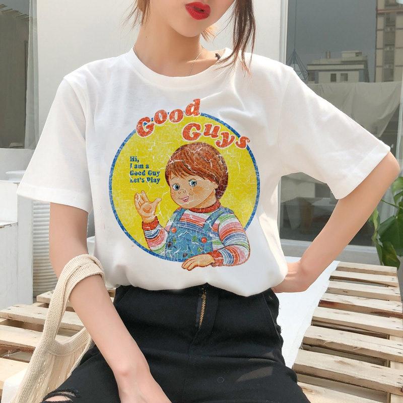 chucky T-shirt horror cool women top street wear Harajuku T-shirt casual ulzzang female T-shirt femme graphic T-shirt