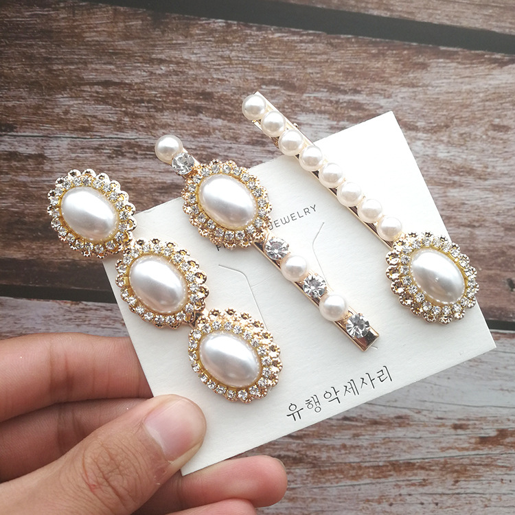 Hot Fashion Retro Pearl Hair Clips Vintage Crystal Metal Accessories Chic Barrette Charming Hairpins