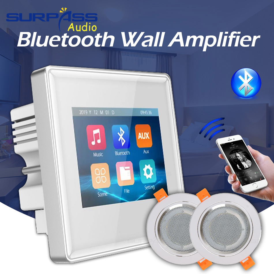 Surpass <font><b>Audio</b></font> Background Music In Wall <font><b>Amplifiers</b></font> TF/AUX IN Music Player, Bluetooth Digital Stereo <font><b>Amplifier</b></font> With Roof Speakers image