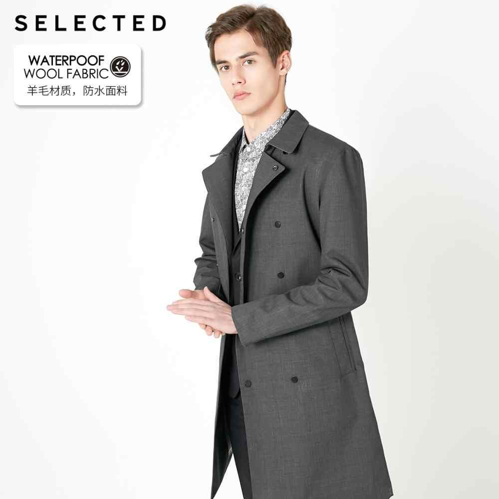 Seçilen erkek bahar düzenli Fit orta uzunlukta yün ceket T | 4191OM535