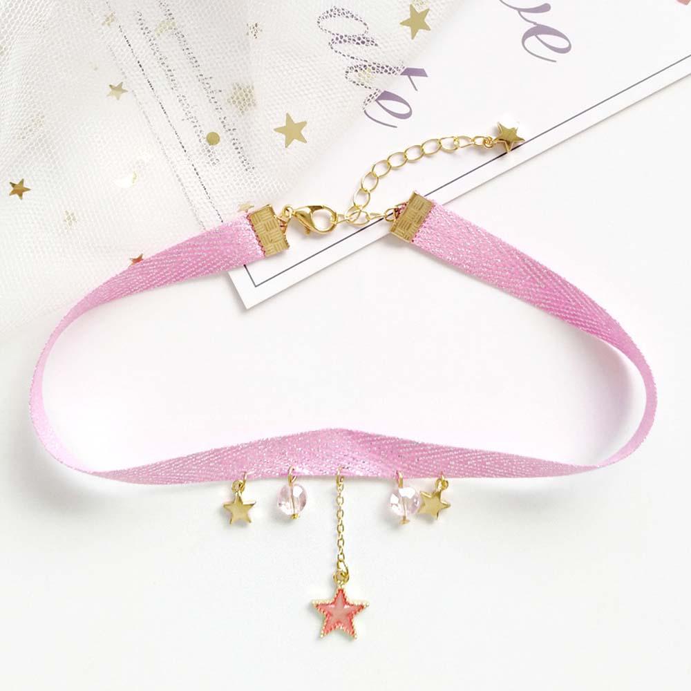 Simple Harajuku Sweet Cute Velvet Ribbon Rope Choker Women Star Moon Earth Pendant Short Choker Necklace for Women Girls