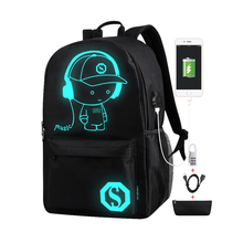 Anime Cartoon Luminous Backpacks with USB Charging Port&Anti-theft Lock Personalized Fashion