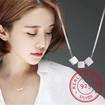 Newest Square Box Cube Pendant Necklace For Women Short Sweet Statement Necklace Gift 925 Sterling Silver Jewelry image