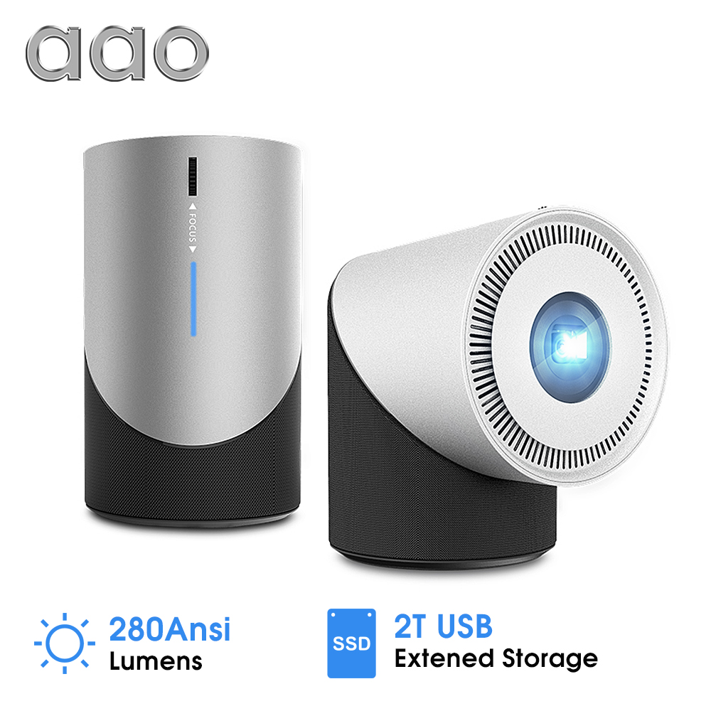AAO DLP projecteur S211 Portable Mini projecteur 280Ansi 1080P Android IOS téléphone WiFi projecteur Miracast Airplay batterie 3D Proyector