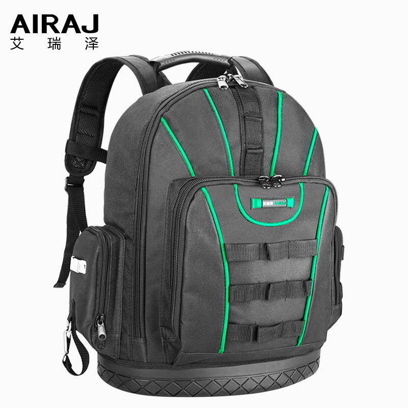 AIRAJ Tool Backpack, Waterproof Tool Bag, Rubber Bottom Storage Bag, Backpack With Multiple Pockets Suitable For Electrician Bag