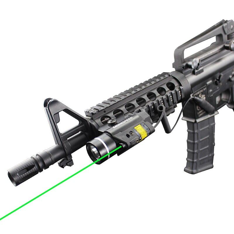 laserspeed 2 em 1 combo tactical pulsado mira laser verde com 450lm lanterna led para caca