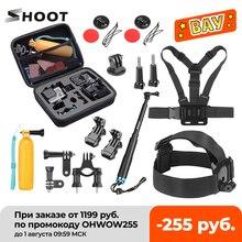 Atirar para gopro ação câmera acessórios conjunto monopé montagem conjunto para go pro herói 9 8 7 5 preto xiaomi yi 4k sjcam sj7 m20 eken h9