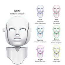 Photon Therapy Skin Care Beauty Mask 7 Colors Led Photon Electric LED Facial Mask with Neck Skin Rejuvenation Anti Wrinkle PDT 7 colors pdt led light photon therapy facial mask skin rejuvenation beauty therapy machine acne remover anti wrinkle skin care