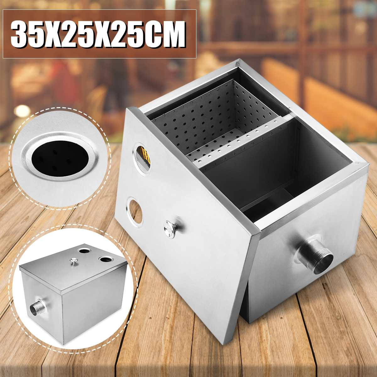 Grease Trap Interceptor Set Stainless Steel Detachable Design For Restaurant Kitchen Wastewater Removable Baffles 2 Sizes Simple