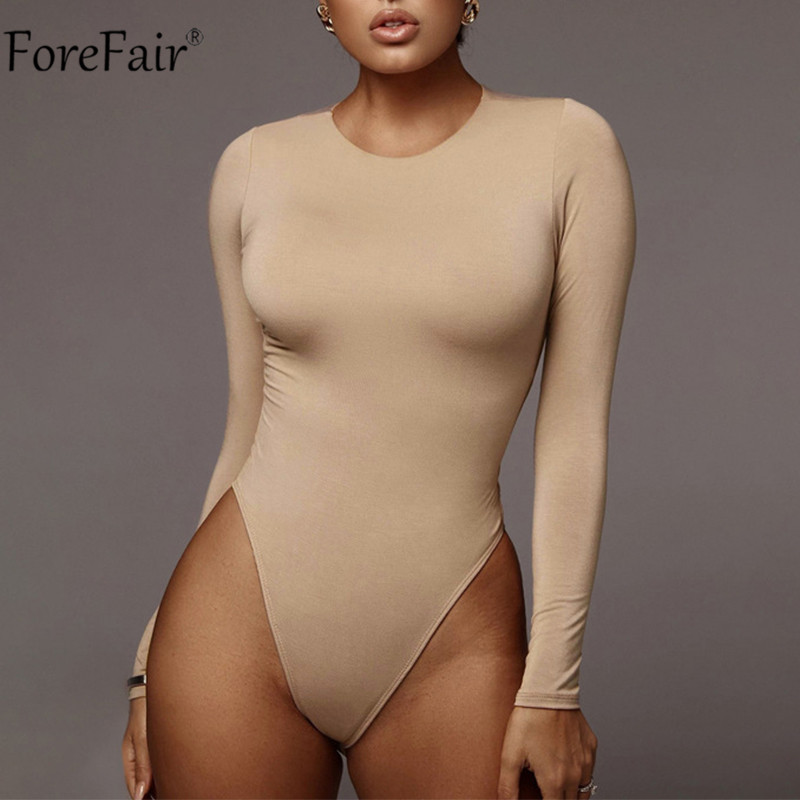 Forefair Casual O Neck Women Long Sleeve Bodysuit Sexy Women Autumn Spring Winter Body Tops Black White Khaki Bodysuits