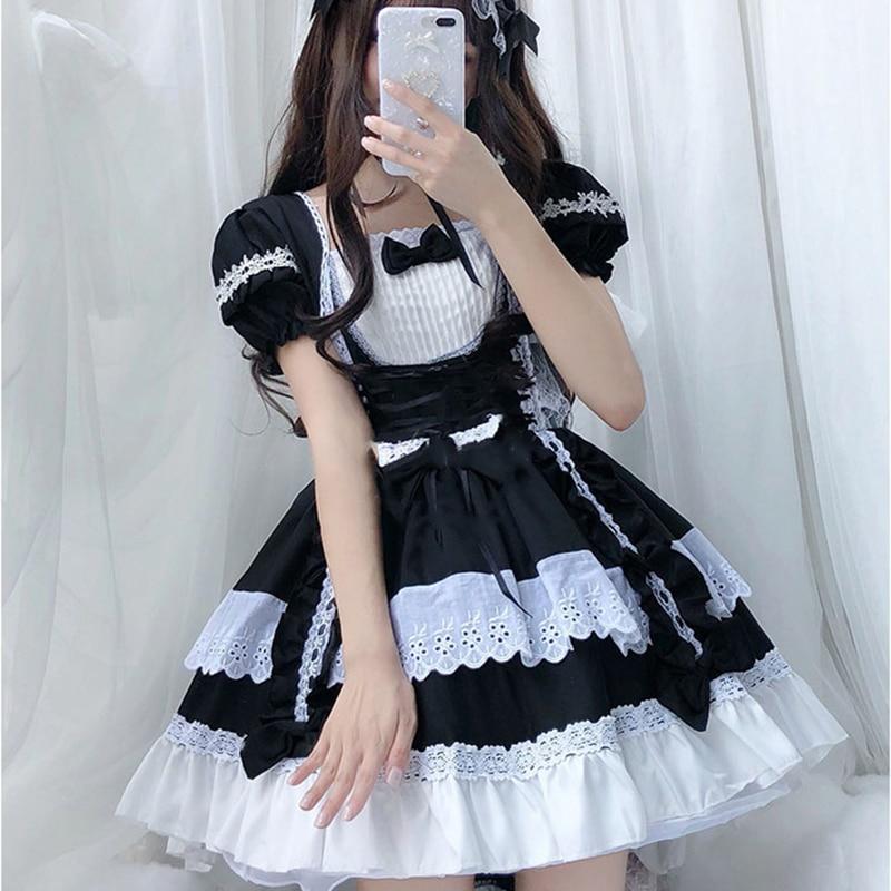 Costume Cosplay noir et blanc tenue de femme de chambre COS robe lolita gothique tenue de femme de chambre