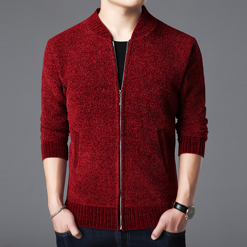 2019 The New Leisure Men's Clothing Zipper Cardigan Sweater Baseball Get Pure Color Long Sleeve Knit Fleece Thickening