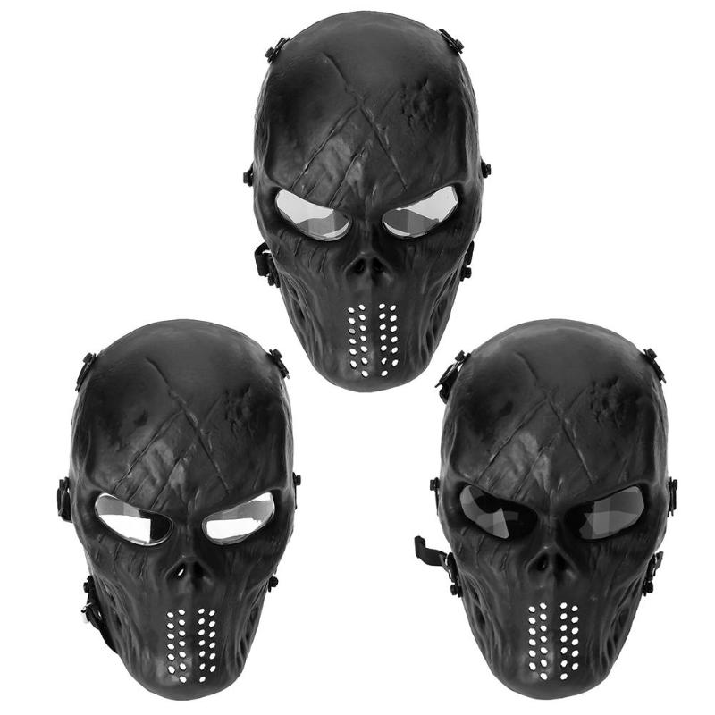 Shock Resistant PC Lens Skull Paintball Games CS Field Face Mask Hunting Military Tactical Cycling Full Face Protection Mask image