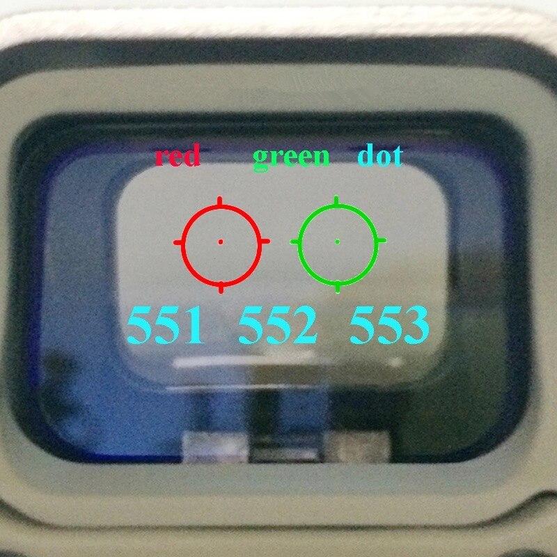 Da 551 552 553 vermelho verde dot sight scope caça holográfica reflexo vista riflescope com 20mm montagem para rifle airsoft arma