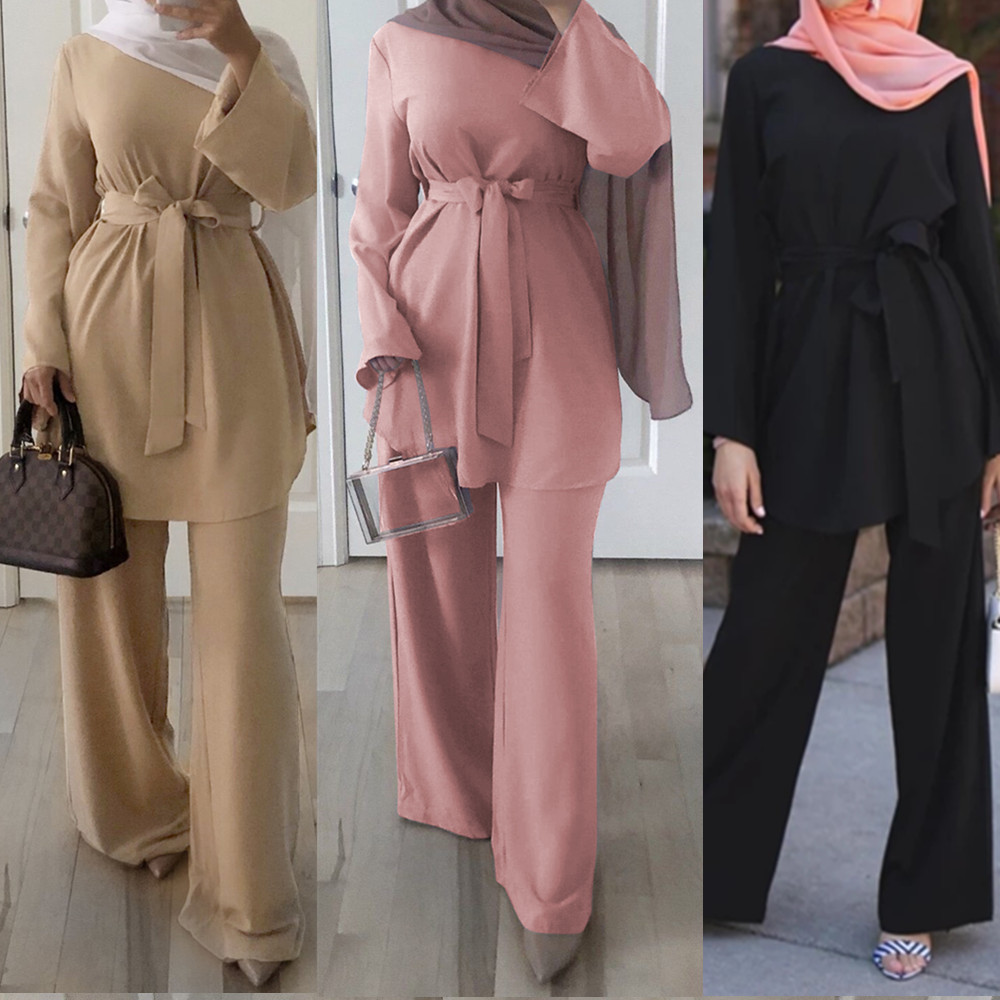 Two Piece Set Blouse And Wide Leg Pants Women Dubai Muslim Abaya Lace-up Solid Kaftan Ladies Islam Turkish Islamic Clothing Sets