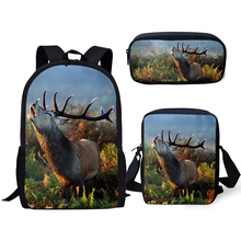 HaoYun Fashion Children Backpack 3PCs Set Flower Deer Pattern School Bags Kawaii Animal Students Backpack/Flaps Bag/Pen