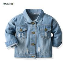 Top i góra wiosna jesień moda dziewczynek płaszcze dżinsowe kurtki dla niemowląt odzież codzienna odzież wierzchnia odzież dla dzieci 0-24M tanie tanio top and top W wieku 0-6m 7-12m 13-24m Unisex CN (pochodzenie) COTTON 0221 Pasuje prawda na wymiar weź swój normalny rozmiar