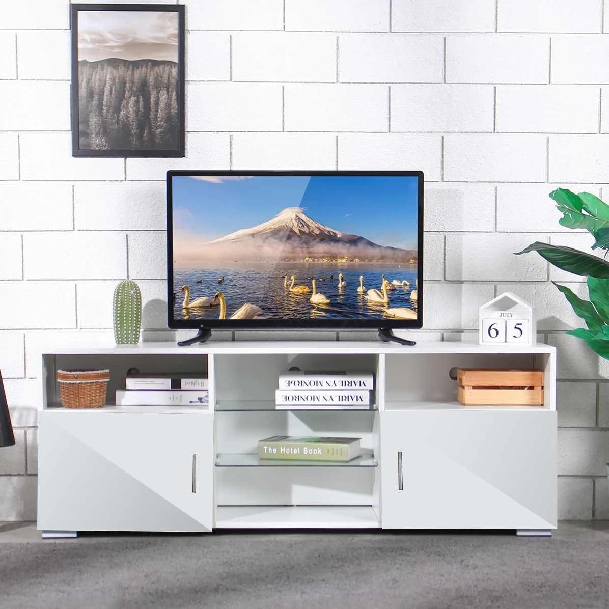 57 led light high gloss tv unit cabinet stand white black wood table living room meuble tv bedroom furniture desk us shipping