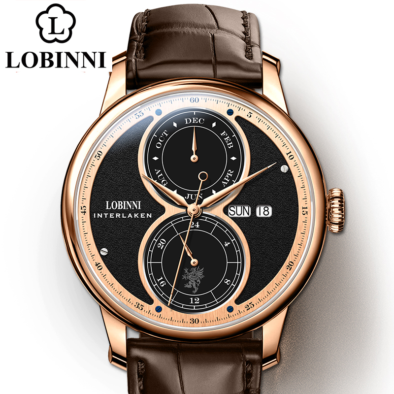 Lobinni reloj de los hombres relógio mecânico automático marca relógios de pulso presente luxo resistente à água mais recente design relógio de pulso