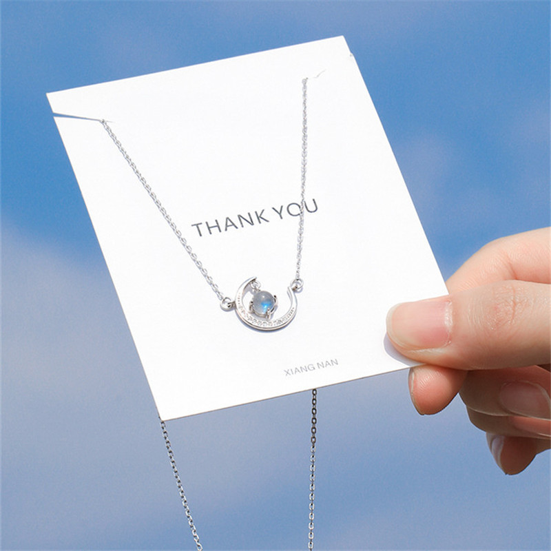 OBEAR Moon Star Necklaces Moonstone Pendants for Women Fashion Jewelry  Silver Plated Choker Design Party Gift