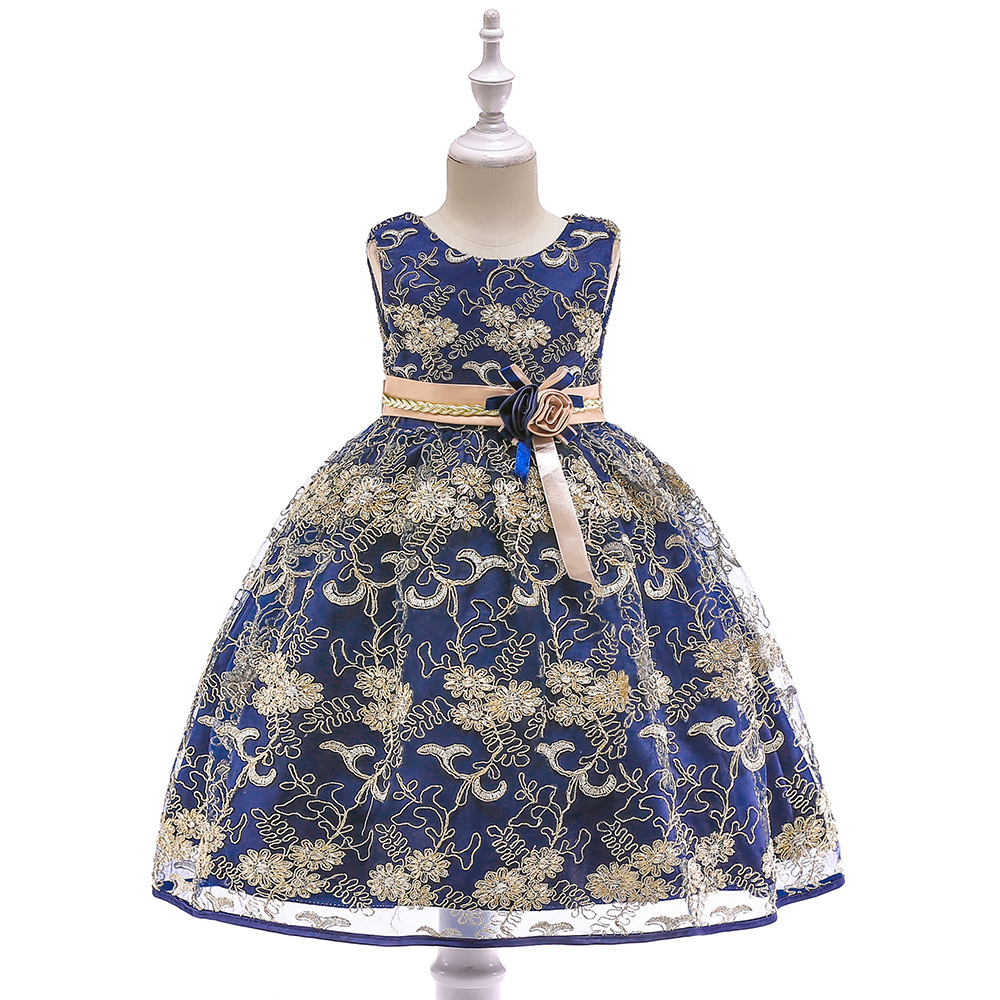 Europe And America GIRL'S Princess Dress Bow Dresses Of Bride Fellow Kids INS Children Shirt Gold Embroidered Girls Cotton Inner