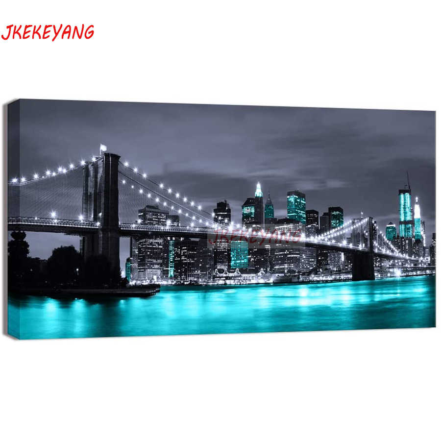 Grande 5D Fai Da Te diamante pittura di New York Brooklyn night view Diamante Mosaico di Strass Ricamo punto croce Y3585