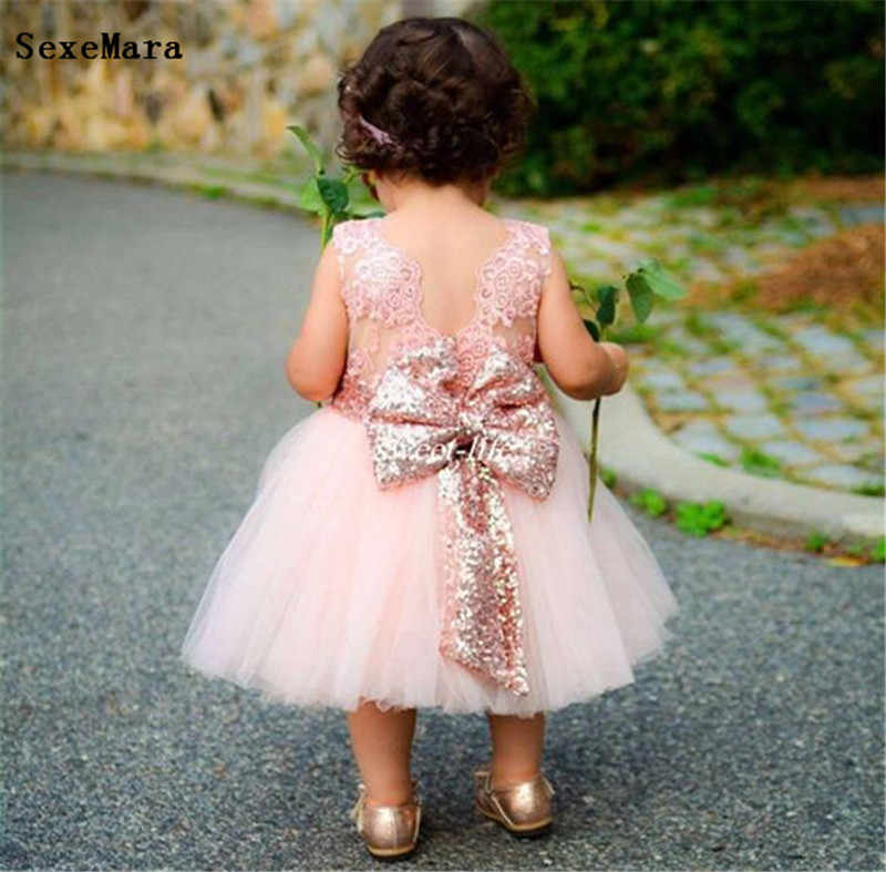 Flower Girl Dresses Baby Infant Toddler Cloth Birthday Party Dresses Pink Rose Gold Sequins Bow Lace Crew Neck Tea Length Dresses Aliexpress