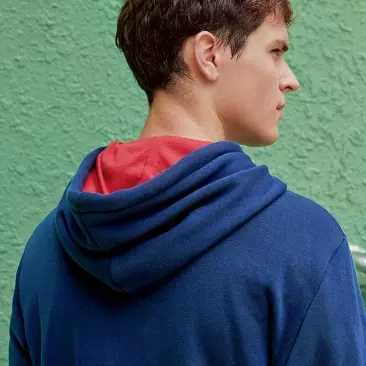 Xiaomi 패션 인쇄 남자의 슈퍼 부드러운 벨벳 대비 색 후드 스웨터 부드럽고 두꺼운 가을과 겨울 레저 스포츠 코트