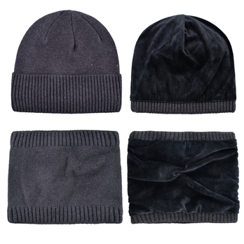 Winter Skullies Beanies Men Warm Hat Set Solid Color Knitted Beanie and Scarf For Women Add Velvet Knitting Unisex Bonnet Sets 2