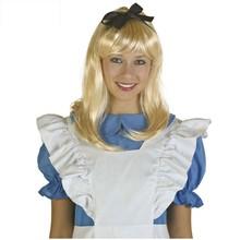 Alice in Wonderland Alice Yellow Golden Cosplay Wig Straight Long Synthetic Hair Costume Party Halloween Party Wigs + Wig Cap(China)