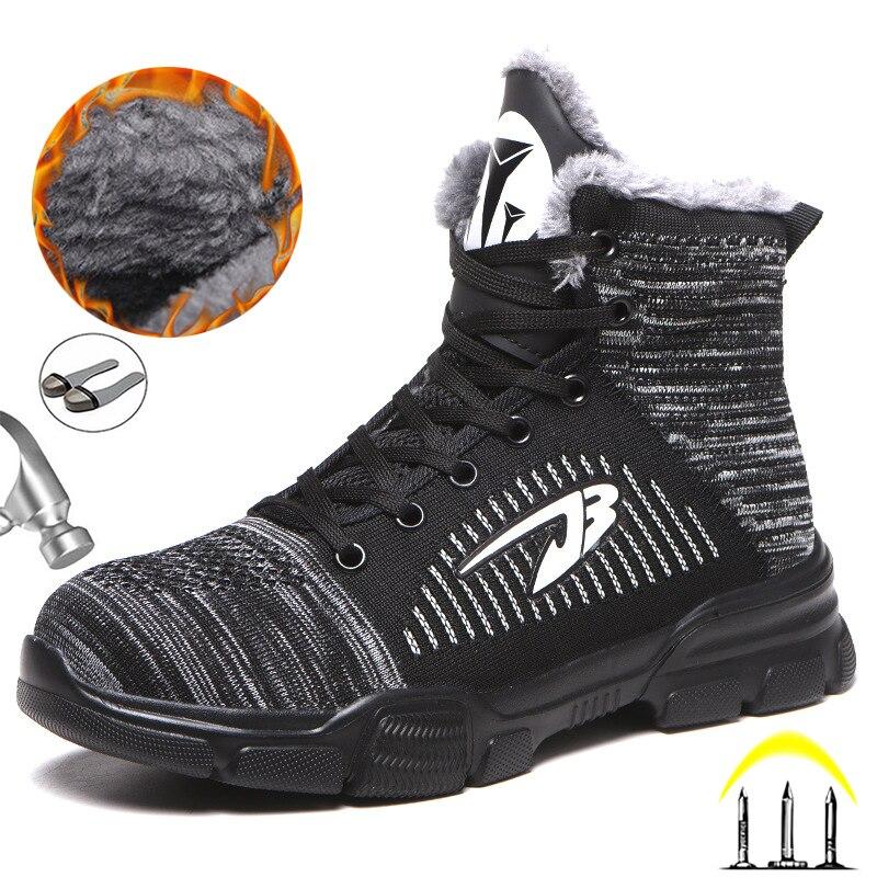 Мужские ботинки с высоким берцем, рабочие защитные ботинки, Мужская защитная обувь со стальным носком, мужская обувь, взрослые зимние ботин...
