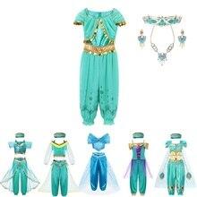 VOGUEON аравийская принцесса Аладдин, жасмин, нарядный костюм, Детские Вечерние платья на Хэллоуин с блестками для девочек, наряд для костюмиро...