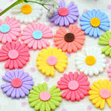 Mixed Color Resin Flat Back Daisy Flowers-Surface Decoration Flowers-D.I.Y Crafting Supplies-25mm