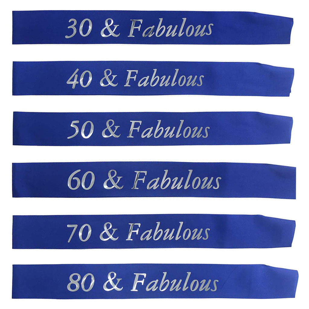 <font><b>30</b></font> <font><b>40</b></font> <font><b>50</b></font> <font><b>60</b></font> <font><b>70</b></font> 80 & Fabulous Birthday Ribbon Sash for Women Men 30th 40th 50th 60th 70th 80th Birthday Party Decoration Supplies image